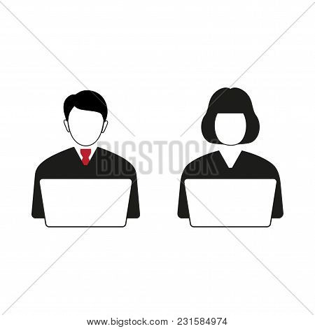 Man And Woman Behind Laptop On A White Background