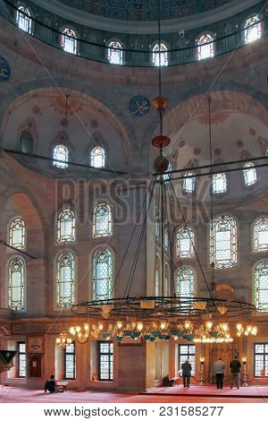 Istanbul, Turkey - March 26, 2012: Interior Of The Eyupa Mosque.