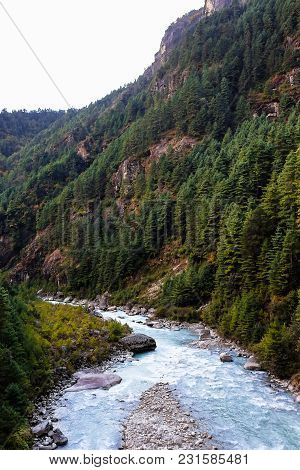 Beautiful Landscape With The Mountain River And Forest In Himalayas Mountains On The Way To The Ever