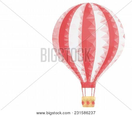 Hot Air Balloon From Lines, Triangles, Point Dots Connecting Network On White Background. Summer, Ho