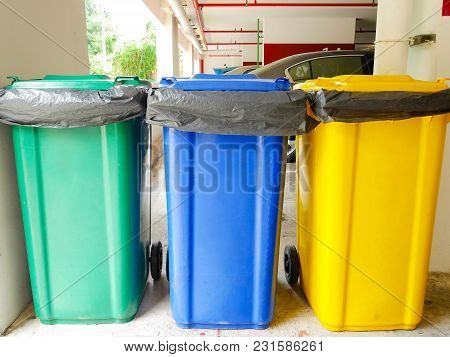 Colorful Rubbish Bins At Car Park In Building