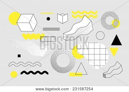 Universal Trend Halftone Geometric Shapes Set Juxtaposed With Bright Bold Yellow Elements Compositio