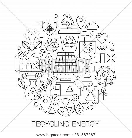 Recycling Energy In Circle - Concept Line Illustration For Cover, Emblem, Badge. Recycling Green Ene