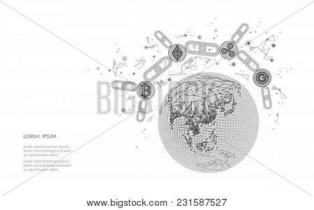Ethereum Bitcoin Ripple Coin Digital Cryptocurrency Global Planet Earth. Big Data Mining Technology.