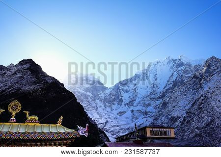 Tengboche Monastery, The Biggest Monastery On The Way To Everest Base Camp. The Front Gate Of The Mo