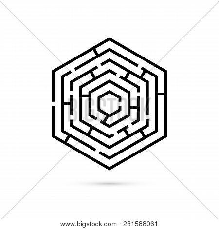 Hexagon Maze. Business Confusion And Solution Concept. Flat Design. Vector Illustration On White Bac