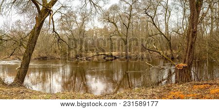 Panorama. Early Spring. Flood. The Countryside In Belarus. Abandoned Park Estate Ostrovsky.