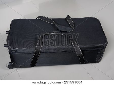 Big Black Travel Bag With Clipping Path And Wheels