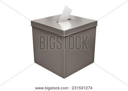 3d Rendering Of Metal Chrome Election Box Isolated On White Background With Clipping Paths.