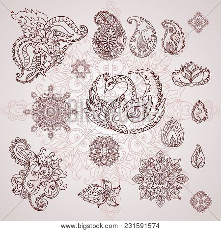 Henna Tattoo Doodle Vector Elements. Mehndi Design For Hands. Indian, Persian And Turkish Paisley Fl