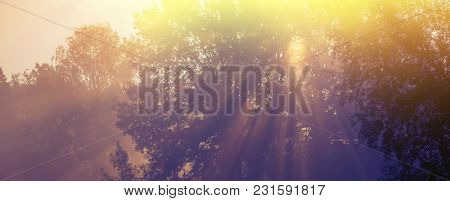 Sun Rays In The Morning Mist. Spring Season, In The Countryside. Panoramic And Web Banner Format.