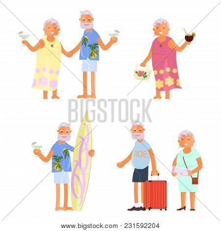 Healthy Active Lifestyle Retiree For Grandparents. Elderly People Characters Travel.  Voyage For Gra