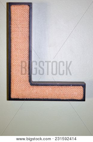 Burlap Brown Capital Letter L Initial On Wall