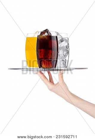 Hand Holds Tray With Cola Orange Water Soda Drinkon White Background