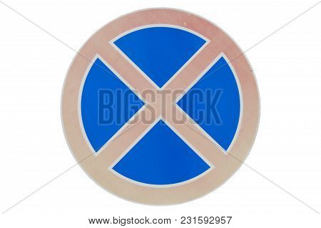 Road Sign 'no Stopping' Isolated On White