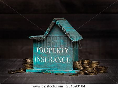 Wooden House Model With Coins Next To It With Conceptual Text. Property Insurance