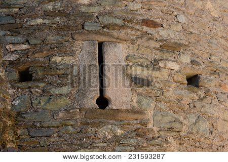 Fenis,italia-5 September . Detail Of A Slit Of The Fenis Castle In Aosta Valley On September 5 2016,