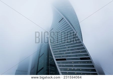 Moscow, Russia - December 29, 2017 Foggy Weather In Moscow, Capital City Of Russia.atmosperic Photog