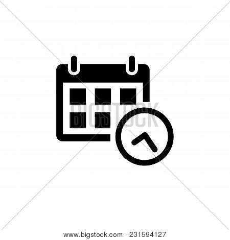 Calendar Icon In Flat Style Isolated On White Background. Date And Time Symbol In Black For Your Web