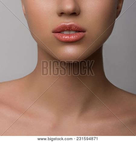 Perfect Lips. Sexy Girl Mouth Close Up. Beauty Young Woman Smile. Natural Plump Full Lip. Lips Augme