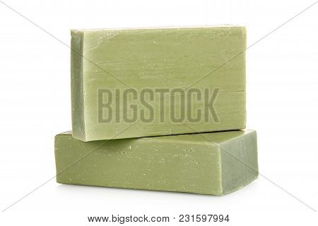 Green Soap Bars Made From Olive Oil Isolated On White