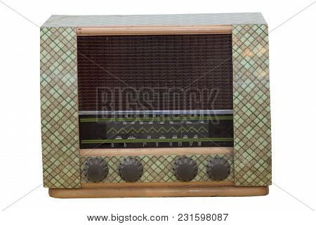 Old Radio Of Transistors Isolated On White. An Image Of What Communication Technology And Radios Use