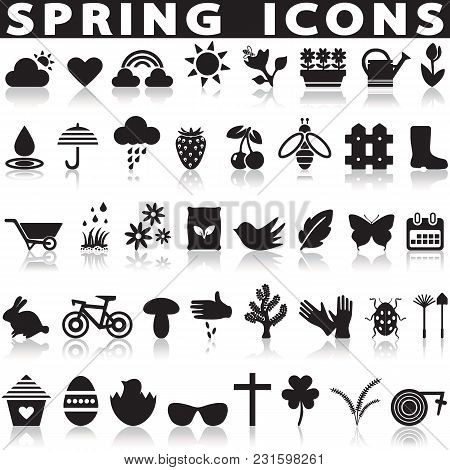 Spring Icons Set On A White Background With A Shadow