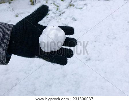 Hand With Black Glove Holding White Pure Snow Ball, Snowy Background. Shallow Depth Of Focus. Winter