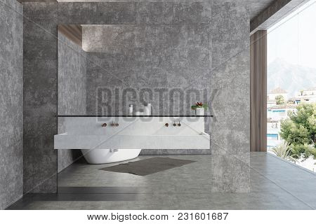 Concrete Panoramic Bathroom Interior Idea. Concrete Walls And Floor, Large Window And A Double Sink.
