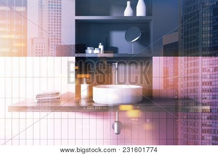 Round Sink In A Pink Tiled And Black Bathroom Interior With Wide Toiletry Shelves Behind It. 3d Rend