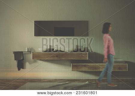 Double Sink Standing On A Wooden Shelf In A White Wall Bathroom With A Wooden Floor. A Woman. 3d Ren