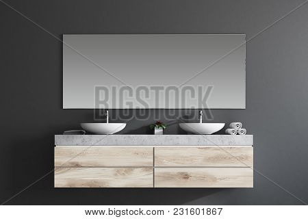 Modern Double Sink In A Gray Wall Bathroom Interior With A Large Horizontal Mirror And Towels. 3d Re