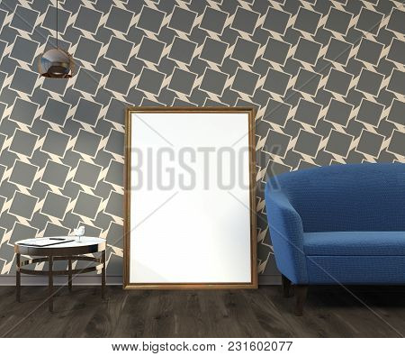 Minimalistic Living Room Interior With A Geometric Wall Pattern, A Soft Blue Sofa Standing Near A Ro