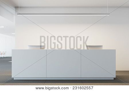 White Office Reception Table With Two Computers Standing In A Modern Company Headquarters. 3d Render