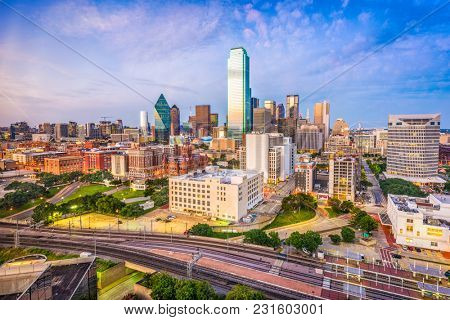 Dallas, Texas, USA downtown skyline at dusk.
