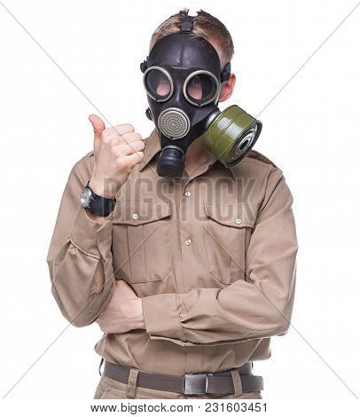 Photo Of Man In Gas Mask On White Background