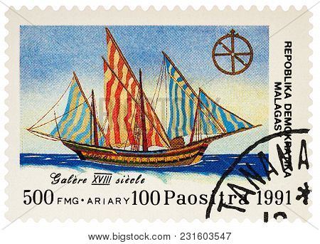 Moscow, Russia - March 17, 2018: A Stamp Printed In Madagascar Shows Sailing Ship Galley (xviii Cent