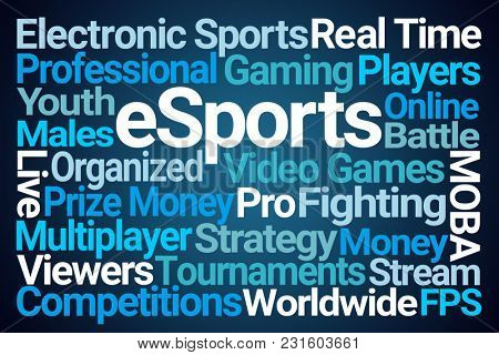 eSports Word Cloud on Blue Background