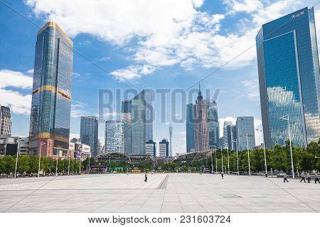 Guangzhou, China - August 6, 2017: View On The Parc Central From The Guangzhou Tianhe Sport Center S
