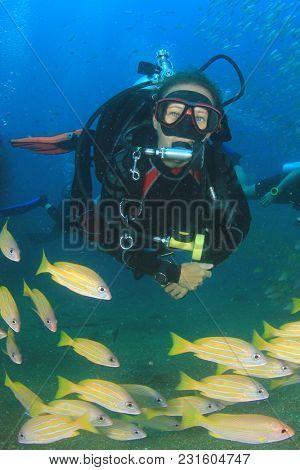 Female scuba diver exploring coral reef
