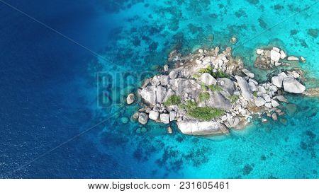 Aerial photo coastline, sea and reef