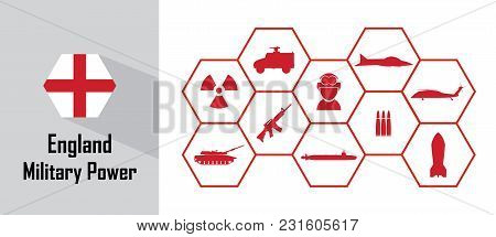 England Military Power Icon With Hexagon Flag. Free Royalty Images.