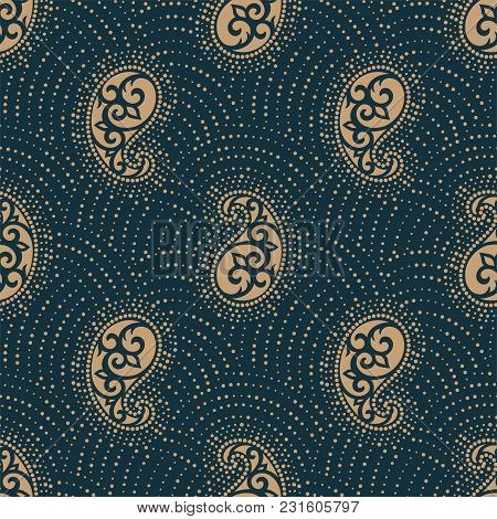 Seamless Pattern Based On Traditional Asian Elements Paisley. Boho Vintage Style Vector Background.