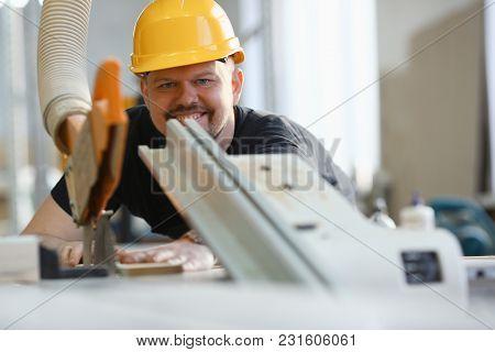 Worker Using Electric Saw Portrait. Manual Job Workplace Diy Inspiration Improvement Fix Shop Yellow
