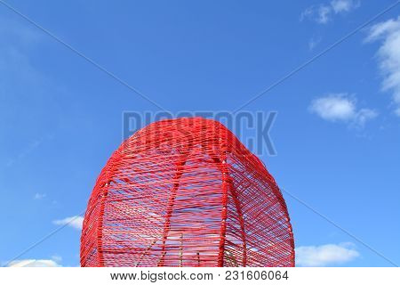 Ethnic, Decorated Red Wicker Basket On Blue Sky Background