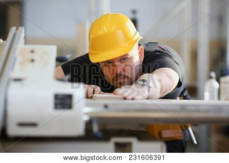 Worker Using Electric Saw Portrait. Manual Job Workplace Diy Inspiration Improvement Fix Shop Yellow