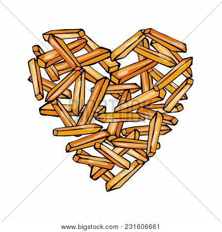 Heart Of Potato French Fries. Love Delicious Fried Potatoes Fast Food. Street Junk Food Lover Poster