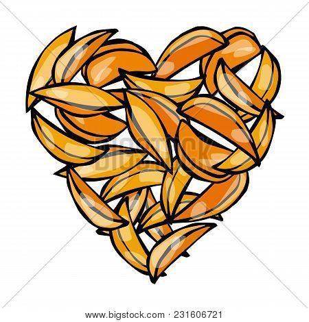 Heart Of Potato Wedges Fries. Love Delicious Fried Potatoes Fast Food. Street Junk Food Lover Poster