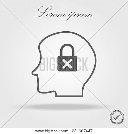 Padlock In Head Flat Business Concept. Head Thinking. Icon Of Head.