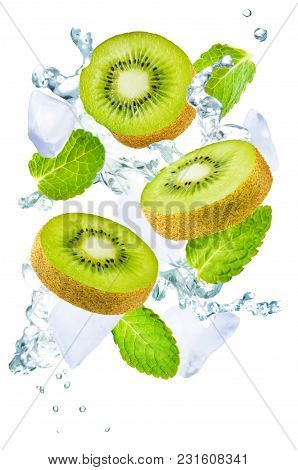 Flying Kiwi With Ices And Mint Leaves On A White Background